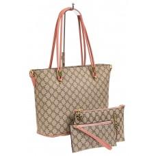 На фото 1 - Женская сумка шоппер с косметичками из искусственной кожи, цвет бежевый