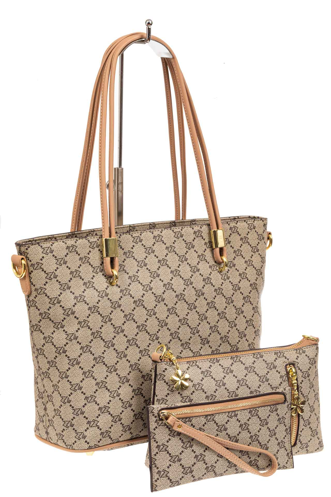 Женская сумка шоппер из искусственной кожи, цвет бежевыйA17236-1PJ0520/7