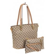 На фото 1 - Женская сумка шоппер из искусственной кожи, цвет бежевый