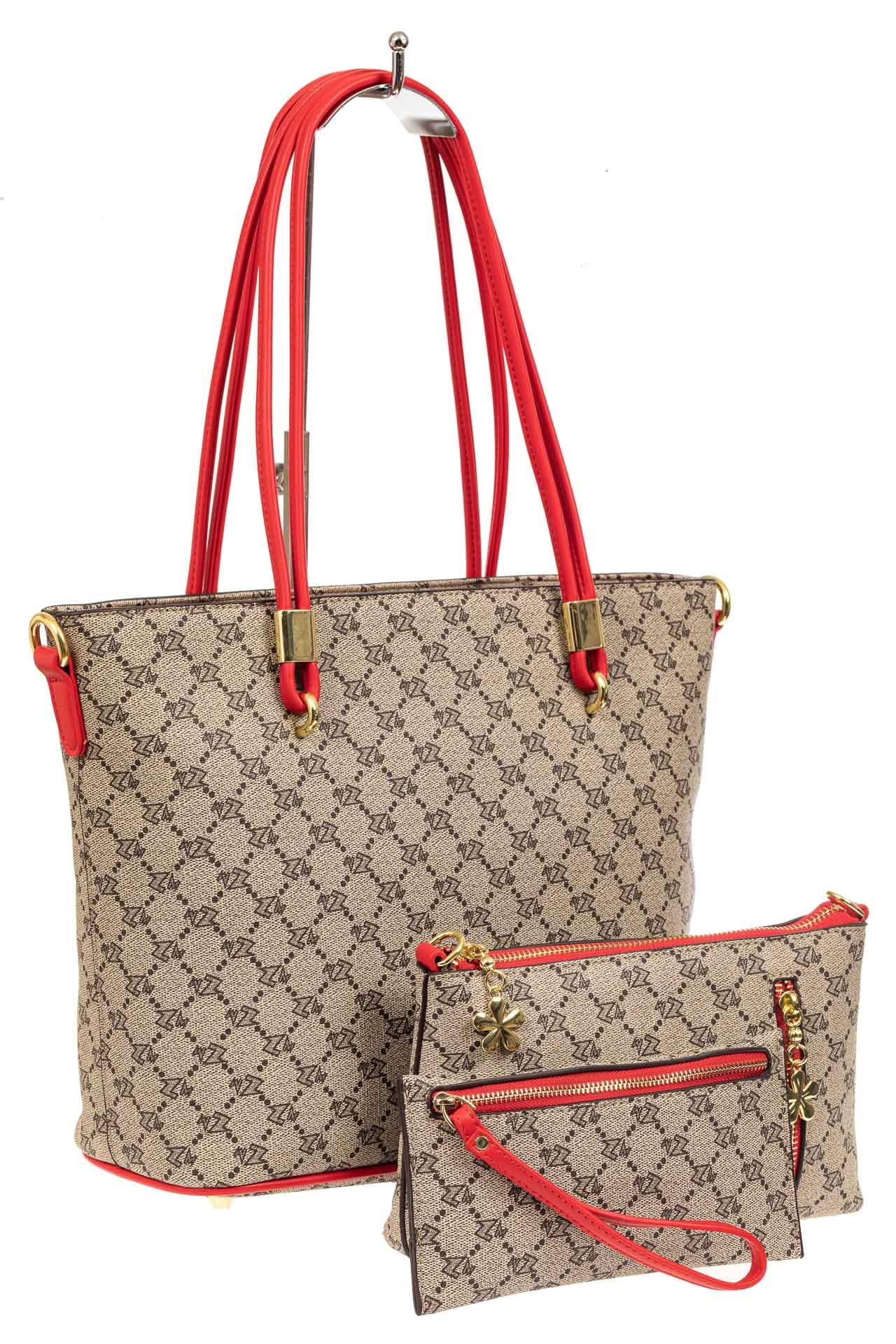 Женская сумка шоппер из искусственной кожи, цвет бежевыйA17236-1PJ0520/8