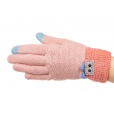 На фото 1 - Шерстяные перчатки женские с Touch Screen, цвет бежево-розовый