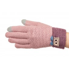 На фото 1 - Шерстяные перчатки женские с аппликацией и Touch Screen, цвет розовый