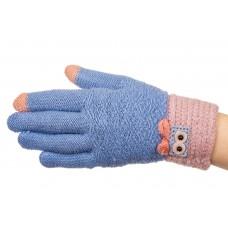 На фото 1 - Шерстяные перчатки женские с Touch Screen, цвет голубой