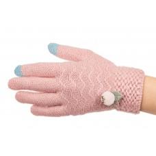 На фото 1 - Перчатки женские шерстяные с Touch Screen, цвет розовый