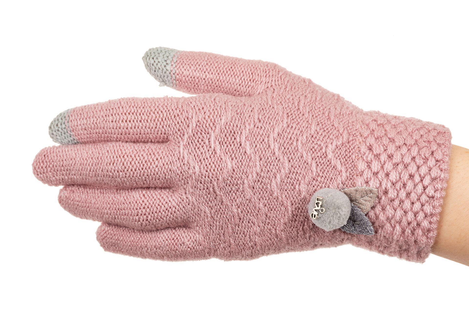 На фото 1 - Перчатки женские шерстяные с Touch Screen, цвет пудра