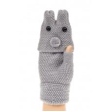 На фото 1 - Перчатки без пальцев женские, митенки вязаные, цвет серый