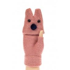 На фото 1 - Перчатки без пальцев женские, митенки вязаные, цвет пудра