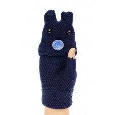 На фото 1 - Перчатки без пальцев женские, митенки вязаные, цвет синий