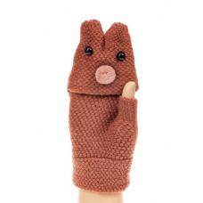 На фото 1 - Перчатки без пальцев женские, митенки вязаные, цвет коричневый