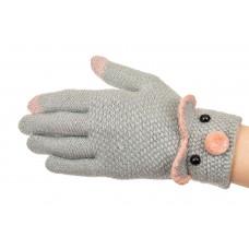 На фото 1 - Забавные вязаные перчатки женские с Touch Screen, цвет серый