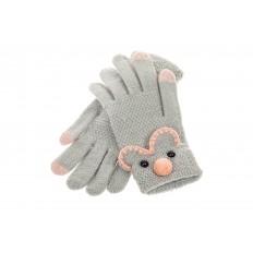 На фото 2 - Забавные вязаные перчатки женские с Touch Screen, цвет серый