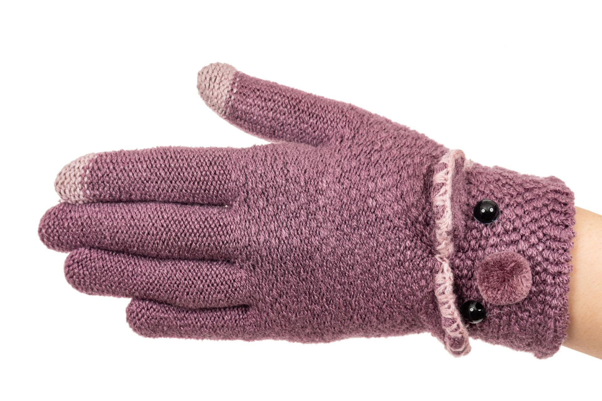 На фото 1 - Забавные вязаные перчатки женские с Touch Screen, цвет фиолетовый