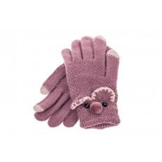 На фото 2 - Забавные вязаные перчатки женские с Touch Screen, цвет фиолетовый