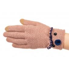 На фото 1 - Забавные вязаные перчатки женские с Touch Screen, цвет пудра