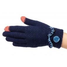 На фото 1 - Забавные вязаные перчатки женские с Touch Screen, цвет синий