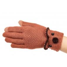 На фото 1 - Забавные вязаные перчатки женские с Touch Screen, цвет коричневый