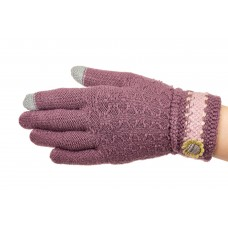 На фото 1 - Вязаные перчатки женские с Touch Screen, цвет сиреневый