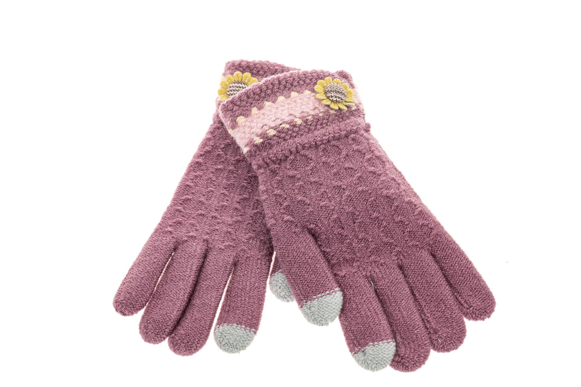 На фото 2 - Вязаные перчатки женские с Touch Screen, цвет сиреневый