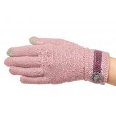 На фото 1 - Вязаные перчатки женские с Touch Screen, цвет розовый
