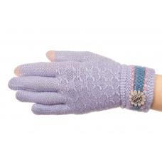 На фото 1 - Вязаные перчатки женские с Touch Screen, цвет голубой