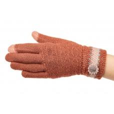 На фото 1 - Вязаные перчатки женские с Touch Screen, цвет рыжий