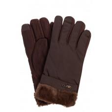 На фото 1 - Утепленные перчатки мужские с меховыми манжетами, цвет коричневый