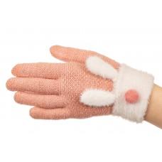На фото 1 - Вязаные перчатки женские с Touch Screen и аппликацией, цвет розовый