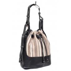 На фото 1 - Сумка-мешок из искусственной кожи и текстиля, цвет бежевый с чёрным