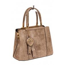 На фото 1 - Классическая сумка-трапеция из искусственной кожи, цвет бежевый