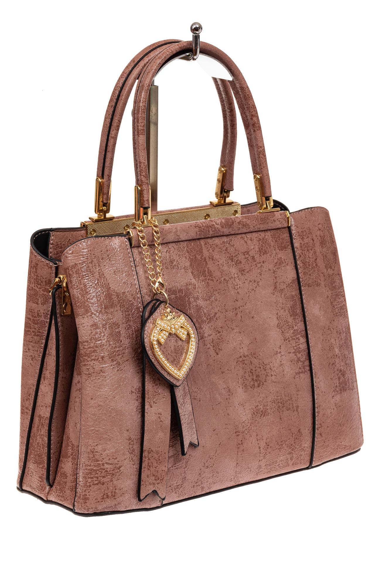 На фото 1 - Классическая сумка-трапеция из искусственной кожи, цвет розовый