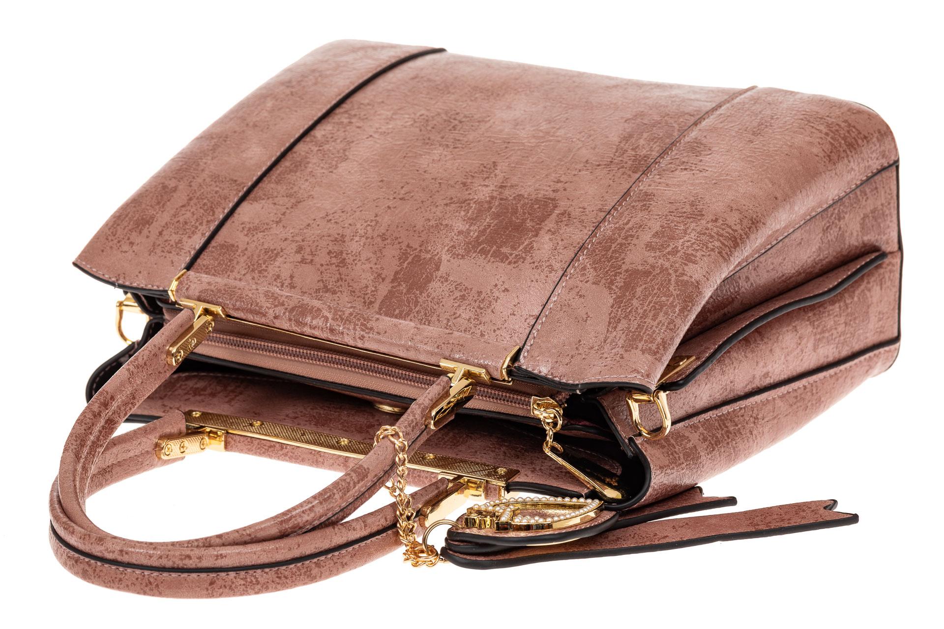 На фото 3 - Классическая сумка-трапеция из искусственной кожи, цвет розовый
