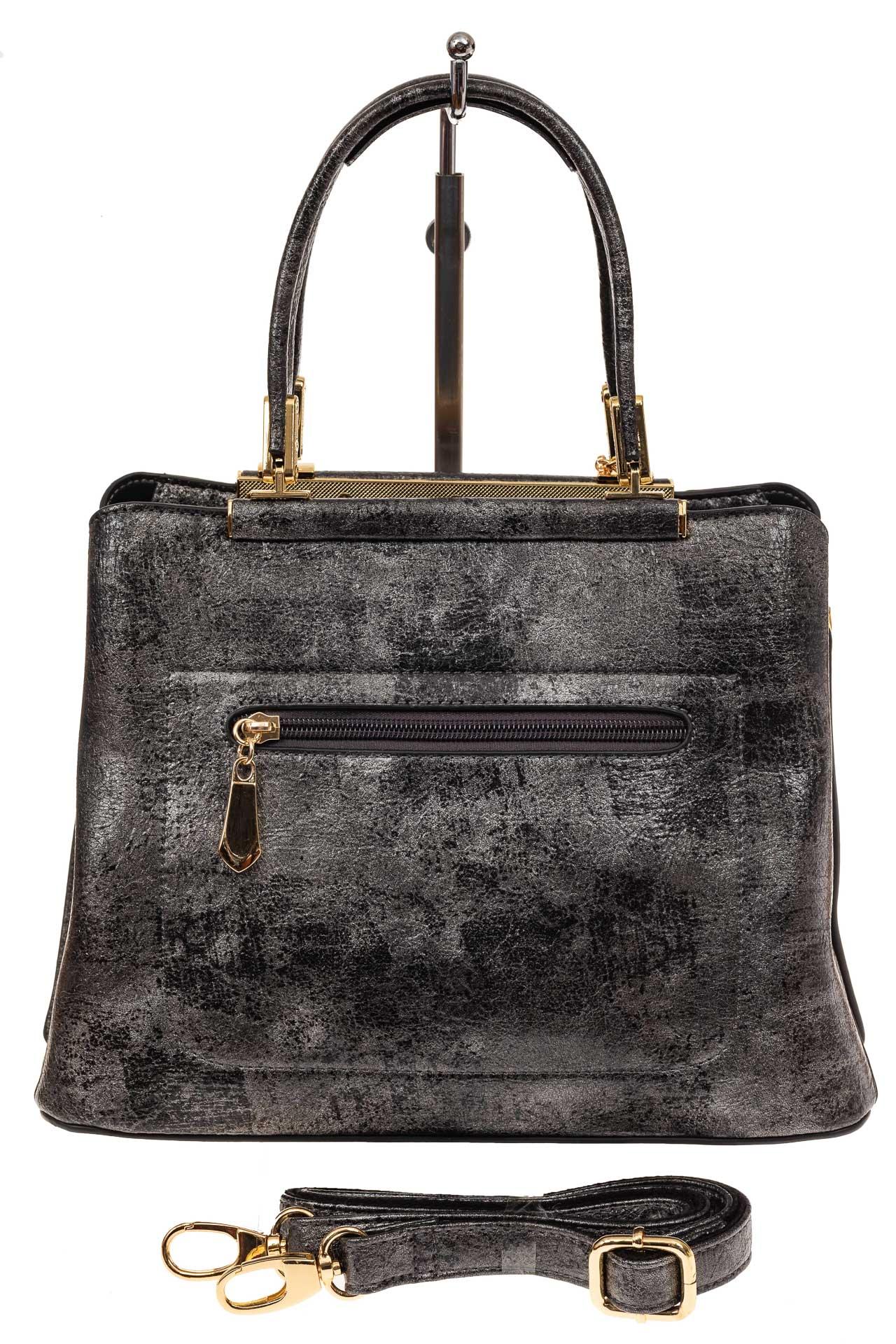 На фото 2 - Классическая сумка-трапеция из искусственной кожи, цвет серебристый