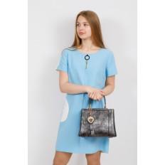На фото 4 - Классическая сумка-трапеция из искусственной кожи, цвет серебристый