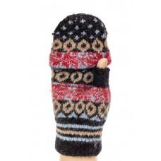 На фото 1 - Перчатки из шерсти без пальцев женские, митенки, цвет черный