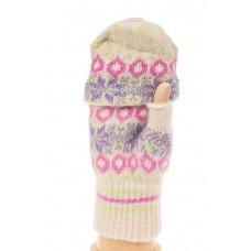 На фото 1 - Перчатки из шерсти женские, митенки, цвет б...