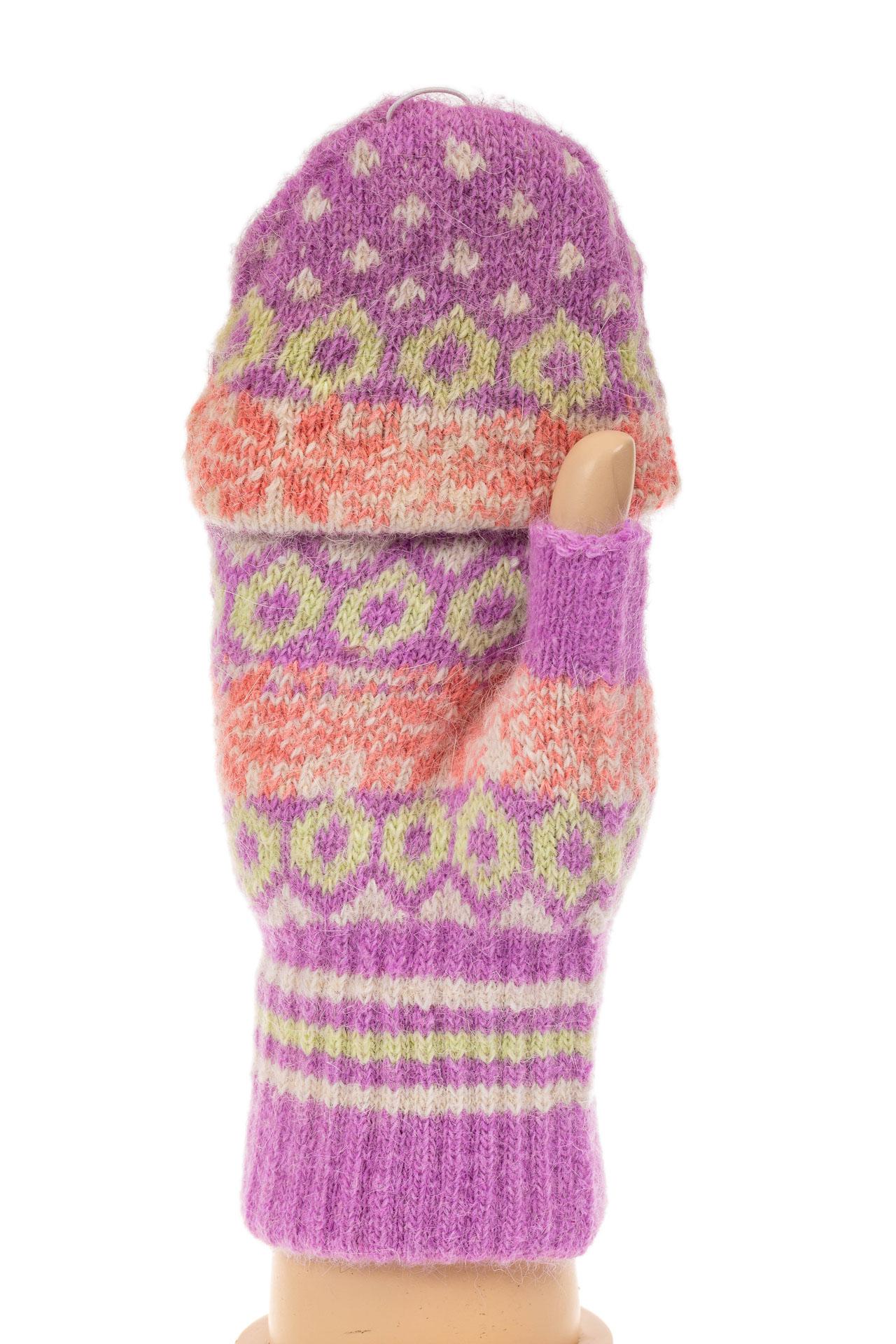 На фото 1 - Перчатки без пальцев женские, митенки вязаные, цвет сиреневый