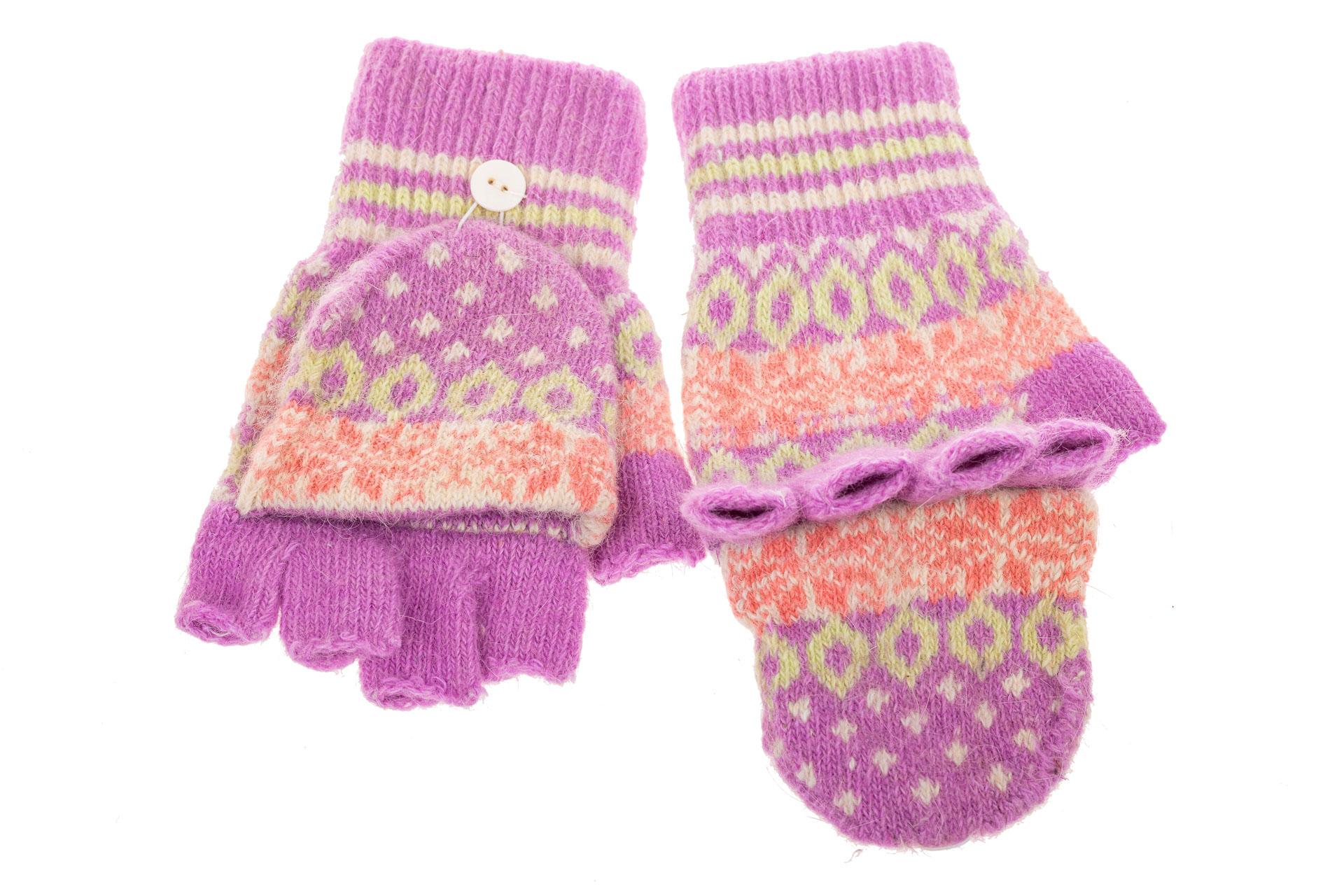 На фото 2 - Перчатки без пальцев женские, митенки вязаные, цвет сиреневый
