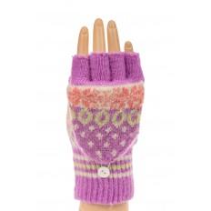 На фото 3 - Перчатки без пальцев женские, митенки вязаные, цвет сиреневый