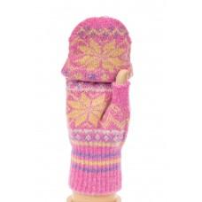 На фото 1 - Перчатки без пальцев женские, митенки вязаные, цвет лиловый