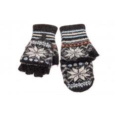 На фото 2 - Перчатки без пальцев женские, митенки вязаные, цвет черный с белым