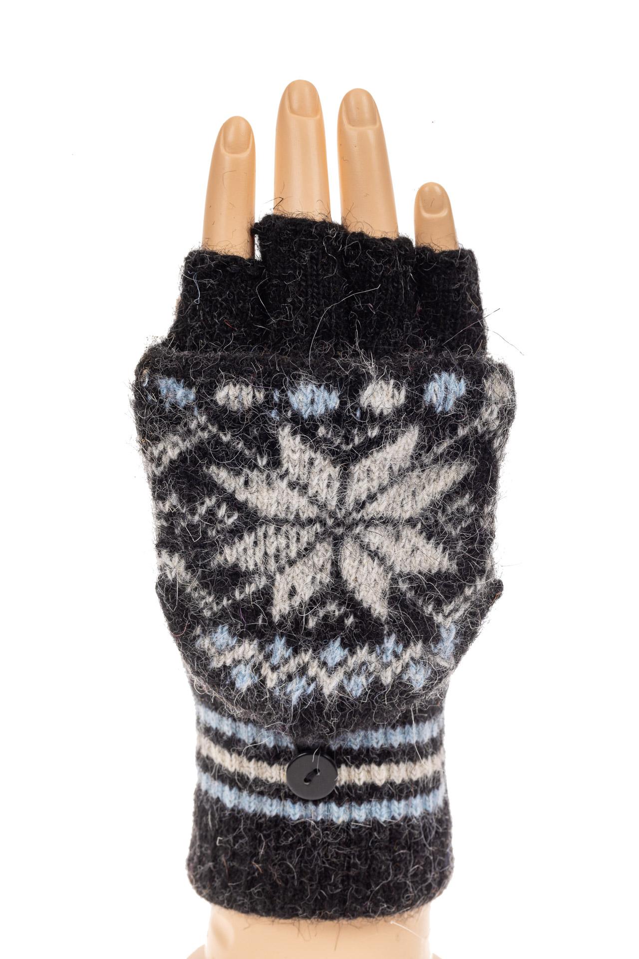 На фото 3 - Перчатки без пальцев женские, митенки вязаные, цвет черный с белым