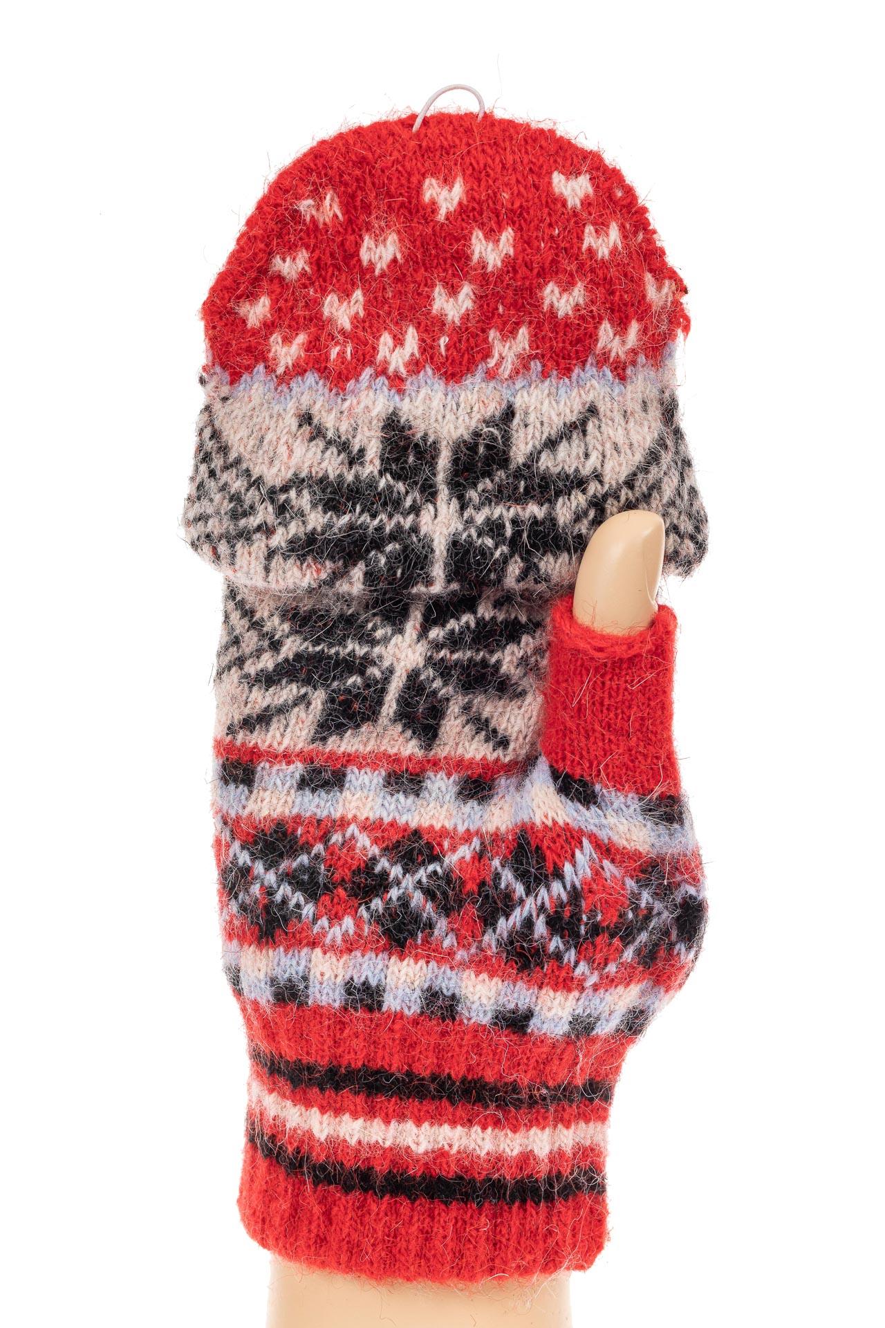 На фото 1 - Перчатки без пальцев женские, митенки вязаные, цвет красный