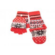 На фото 2 - Перчатки без пальцев женские, митенки вязаные, цвет красный