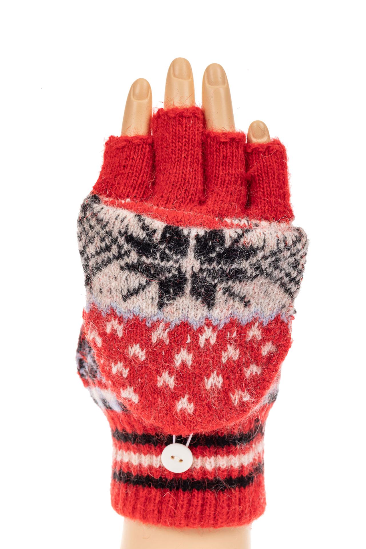 На фото 3 - Перчатки без пальцев женские, митенки вязаные, цвет красный