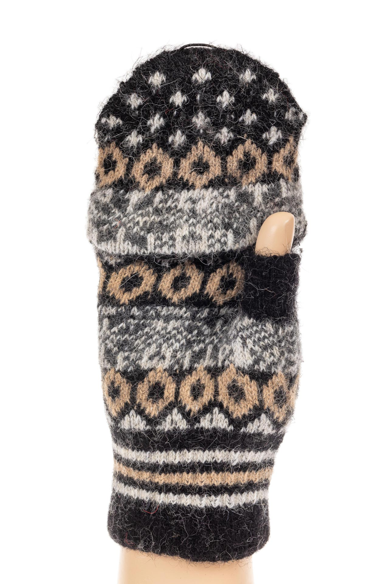 На фото 1 - Перчатки без пальцев женские, митенки вязаные, цвет черный с коричневым