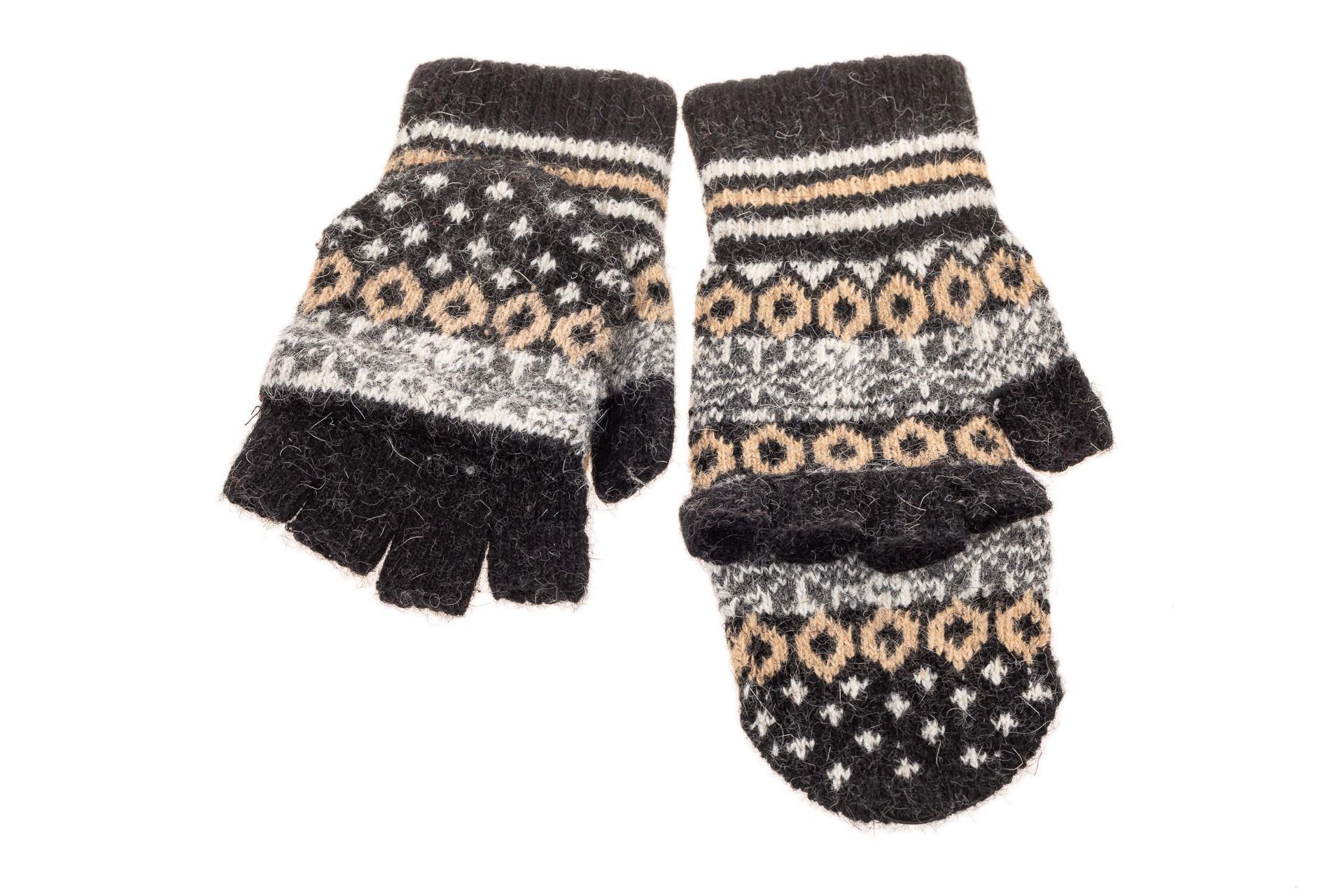 На фото 2 - Перчатки без пальцев женские, митенки вязаные, цвет черный с коричневым
