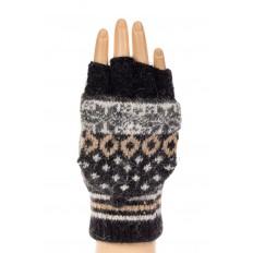 На фото 3 - Перчатки без пальцев женские, митенки вязаные, цвет черный с коричневым