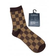 На фото 1 - Клетчатые мужские носки, цвет коричневый
