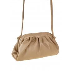 На фото 1 - Вечерняя сумка-малышка из мягкой экокожи, цвет пудровый