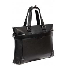 На фото 1 - Мужской портфель из фактурной искусственной кожи, цвет чёрный